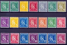 FINLAND 1945 Definitive Lions MI 296-316 Set Of 21v**MNH - Nuovi