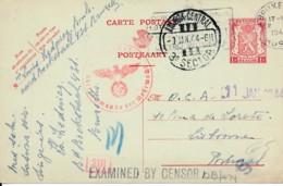 Entier 1Fr écrite 31.12.43 Vers Lisbonne 9 Jan 44 + Censure Allemande Et Britannique - Weltkrieg 1939-45