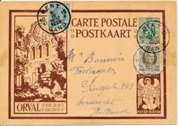 Postwaardestuk Orval Met Bijfrankering Met Houyoux Zegels Naar Nederland - Gent 9 IV 1929 - 1929-1937 Lion Héraldique