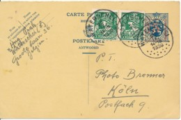Pwst 35c Op 50c Antwoord Met Bijfrankering Naar Buitenland - Waterschei 22 IX 36 - Cartes Postales [1934-51]