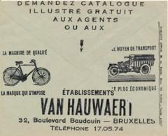 Env CCP 1936 - Publicité Laines Duez & Ets Van Hauwaert Vélo & Moto - Bike - Motos