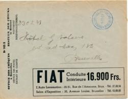 Env CCP 1937 - Publicité Voiture Fiat - R.R. Radio Avec Ondes Ultra Cortes - Première Marque Belge - Voitures