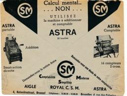 Env CCP 1937 - Publicité Machines à écrire Smith, à Calculer Astra Et Comptable - Comptabilité - Computers