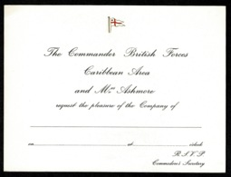 Ref 1327 - 7 X Unused Royal Navy R.S.V.P. Invitation Cards - Maritime Ship Theme (2) - Old Paper