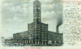ETATS UNIS IL Souvenir De CHICAGO Grand Central Depot Dos Private Mailing Card - Chicago