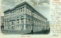 ETATS UNIS IL Souvenir De CHICAGO Public Library Dos Private Mailing Card - Chicago