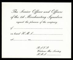 Ref 1327 - 4 X Unused Royal Navy R.S.V.P. Invitation Cards - Maritime Ship Theme - Old Paper