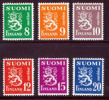 FINLAND 1950 Definitive Lions Set Of 6v MI 378-383**MNH - Nuovi