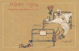 """CP  """" NOËL 1914 Hôpital Auxiliaire N°50 """" Alsacienne Jeux Canon - 5/1/1915 Ambulance 50 - War 1914-18"""