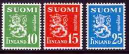 FINLAND 1952 Definitive Lions Set Of 3v MI 403-05**MNH - Nuovi