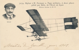"""CP """" Biplan Farman Type Militaire Piloté Par BILLE De L'Ecole De Lyon """" Aviation De Grenoble Isère - Aviateur - ....-1914: Vorläufer"""