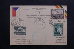 BELGIQUE - Carte Du Meeting D' Aviation De Bruxelles Pour La Tchécoslovaquie En 1937  - L 40138 - Cartas