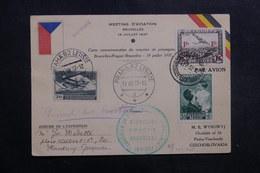 BELGIQUE - Carte Du Meeting D' Aviation De Bruxelles Pour La Tchécoslovaquie En 1937  - L 40140 - Cartas