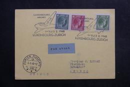 LUXEMBOURG - Carte 1er Vol Luxembourg / Zurich En 1948, Affranchissement Et Cachets Plaisants , à Voir  - L 40144 - Luxemburg