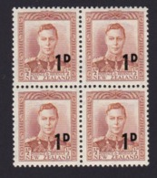 AN39 New Zealand, Block Of 4, SG712 1d On ½d Brown-orange - Unused Stamps
