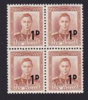 AN39 New Zealand, Block Of 4, SG712 1d On ½d Brown-orange - New Zealand
