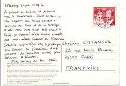 SUEDE CARTE POUR LA FRANCE 1976 - BELLE CONCORDANCE - Svizzera