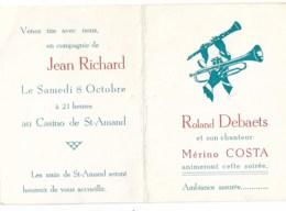 Casino De St Amand  Jean RICHARD ....trompette Clarinette - Programmes