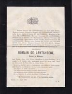 ASSCHE ASSE Romain DE LANTSHEERE Docteur En Médecine 1828-1885 Famille VAN DEN HOVE DE PAUW - Décès