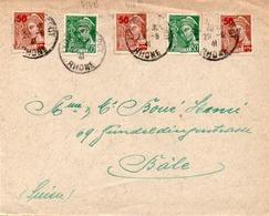 AFFRANCHIE TYPE MERCURE N° 414 B  X2 +N° 416 A X 3 CAD LYON ENTREPOT 1941 - Marcophilie (Lettres)