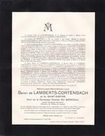Château De HOCHT LANAEKEN Werner Baron LAMBERTS-CORTENBACH Veuf DU MONCEAU 1872-1934 Conseiller Provincial - Décès