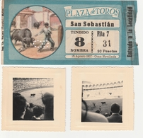 BILLET DE CORRIDA 1957 PLAZA DE TOROS SAN SEBASTIAN EN BLEU ET 2 PHOTOS ORIGINALTAUROMACHIE - Tickets D'entrée