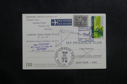 PORTUGAL - Carte Postale 1er Vol Lisbonne / New York En 1972  Affranchissement Plaisant  - L 40162 - 1910-... République
