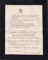 TOURNAI Henriette Baronne LEFEBVRE Née Duchesse DECAZES & De GLUCKSBERG 75 Ans 1899 Famille BUFFIN De DORLODOT - Décès