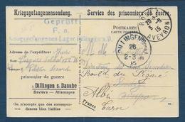 Carte D'un Prisonnier De Guerre  Au Camp De DILLINGEN - Poststempel (Briefe)