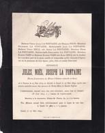 GAND GENT Ancien Conservateur Du Musée D'Histoire Naturelle Jules LA FONTAINE 1819-1892 Natif De Namur Famille HECQ - Décès