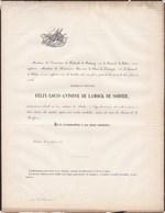 SOHIER BOTASSART Félix-Louis De La MOCK De SOHIER 66 Ans 1858 Famille ROBAULX De SOUMOY De Baré De COMOGNE - Décès