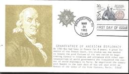 J) 1983 UNITED STATES, MASONIC GRAND LODGE, GRANDFATHER OF AMERICAN DIPLOMACY, FDC - United States