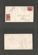 """USA. 1898 (4 Oct) Montour Falls - Elmisa. Env Fkd 2c Fiscal Stamps, Cancelled + """"held For Postage"""", Then Applied 2c Miss - United States"""