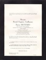 NAMUR IXELLES Ministre Raould RICHARD époux LANNOY 1885-1962 Faire-part Mortuaire En 2 Volets Complets - Décès