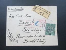 Österreich 1918 Kaiserkrone Nr. 195 EF Einschreiben Reko Zell Am Ziller 483 - Zürich Zensuriert KuK 166 Feldkirch - Briefe U. Dokumente