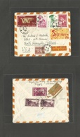 INDOCHINA. 1957 (29 Aug) Saigon - USA, ILL, North Riverside. Air Multifkd Front + Reverse Envelope Via Hong Kong. - Postzegels