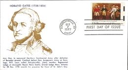 J) 1977 UNITED STATES, MASONIC GRAND LODGE, HORATIO GATES (1728-1806), FDC - United States