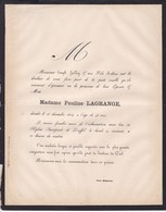 DUFFEL Pauline LAGRANGE 46 Ans 1864 Faire-part Mortuaire Famille HALLOY - Décès