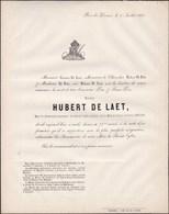 GENDARMERIE HODIMONT Major De Gendarmerie Pensionné Hubert DE LAET Veuf ARNOLDY  73 Ans En 1861 - Décès