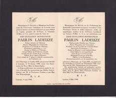 Université De LOUVAIN Paulin LADEUZE Harvengt 1870 Leuven 1940 Recteur Magnifique Avis Mortuaire A5 Double Format A4 - Décès