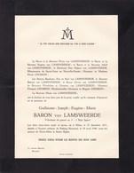 SUMATRA PALANG Guillaume Baron Van LAMSWEERDE Milan 1911 - SUMATRA 1948 Famille CHOSSON - Overlijden