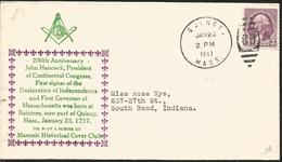 J) 1937 UNITED STATES, MASONIC GRAND LODGE, 200th ANNIVERSARY JOHN HANCOCK, PRESIDENT OF CONTINENTAL CONGRESS, FIRST SIG - United States