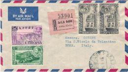 1954 ETIOPIA Ind C.5 E 50 + Coppia C,15 Su Raccomandata Via Aerea Addis Abeba (9.8)  Per L Italia - Etiopia