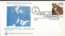 J) 1976 UNITED STATES, MASONIC GRAND LODGE, MASONS IN MARKING THE REVOLUTION BICENTENNIAL, A MARTYR OF BUNKER HILL, FDC - United States
