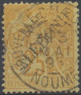 [41647]TB//O/Used-c:44e-N° 28, 1892, 25c Jaune-bistre, Surcharge 'NLLE CALEDONIE' Type II, Belle Oblit. Centrale Et Très - Oblitérés