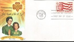 J) 1962 UNITED STATES, MASONIC GRAND LODGE, COMMEMORATING 50th ANNIVERSARY GIRLS SCOUTS OF THE USA, FDC - United States
