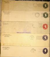 USA 5 Used Postal Stationery Covers - Postal Stationery