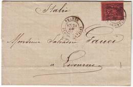 25 C Sage Noir Sur ROUGE Obl PRADES Pyrenees Orientales Pour L' ITALIE - Postmark Collection (Covers)
