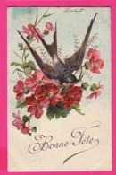 CPA GAUFRÉE (Réf: Z2296)   (THÈME FÊTES VŒUX) Bonne Fête Hirondelle - Auguri - Feste