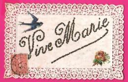 CPA Dentelée Avec Découpie (Réf: Z2312)   (THÈME FÊTES VŒUX) Bonne Fêteavec Brillants Vive Marie Hirondelle - Holidays & Celebrations